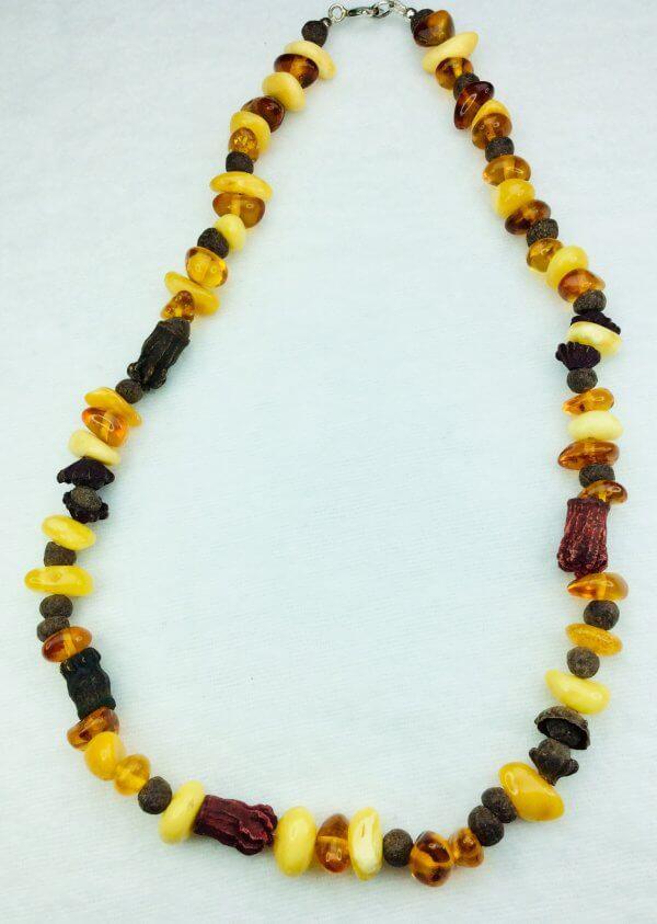 Baltic amber, dried eucaliptus flowers, myrrh, sterling silver