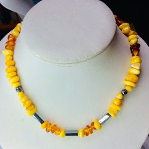Baltic amber, hematite, sterling silver