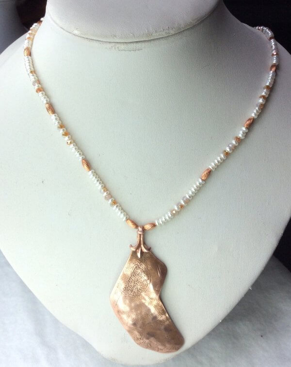 Etched copper, freshwater pearl, crystal, copper