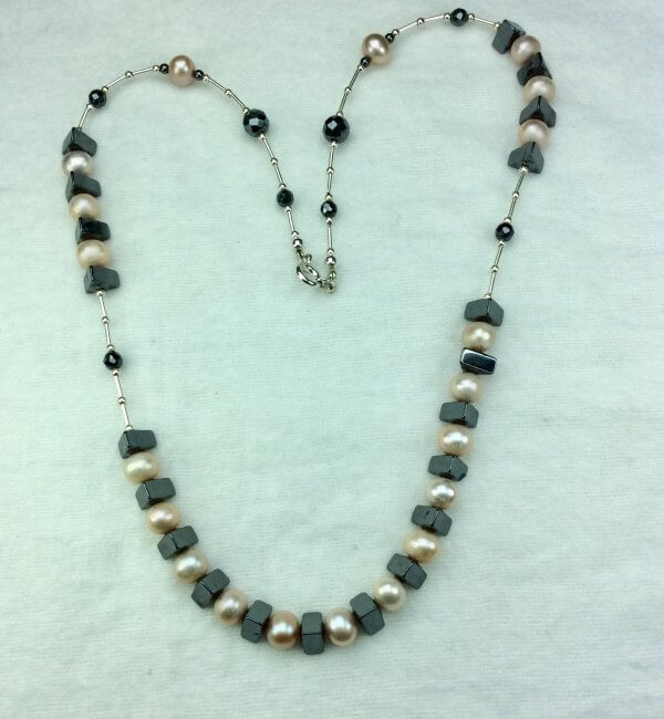 Freshwater pearl, hematite, sterling silver