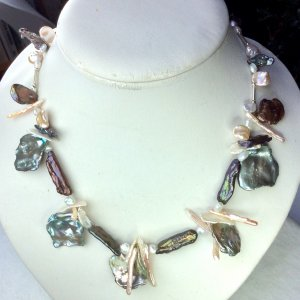 Freshwater pearls, sterling silver