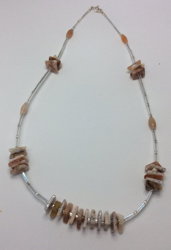 Flower Agate, silver lined bugle beads, sterling silver necklace