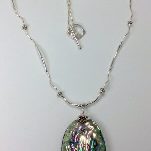 Abalone shell, sterling silver necklace