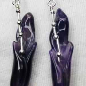 Hand carved, amethyst lilies, sterling silver earrings