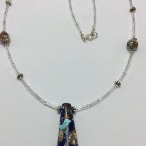 Lapis rainbow prase jasper, silver lined bugle beads, cyan impression jasper, sterling silver