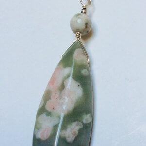 "Green jasper, sterling silver pendant 16"" sterling silver snake chain"