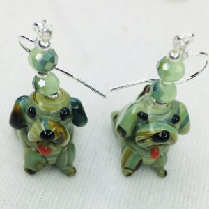 Lamp work dogs, Chinese crystal, sterling silver earrings