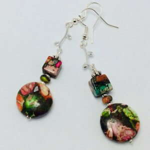 Multi sea sediment Jasper, sterling silver earrings