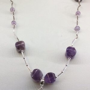 Amethyst, Sterling Silver, with Heart/Bar clasp
