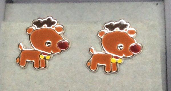 sterling silver brown reindeer stud earrings