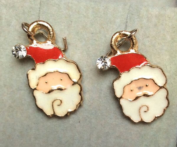 Enamel and aloy santa heads with crystal and sterling silver ear wires