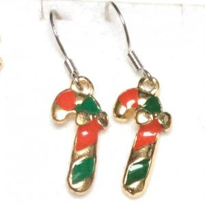 Enamel aloy candy cane with sterling silver earrings