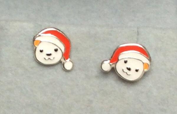 sterling silver enamel polar bear stud earrings