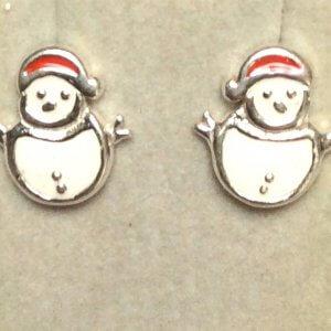 Enamel sterling silver snowmen stud earrings