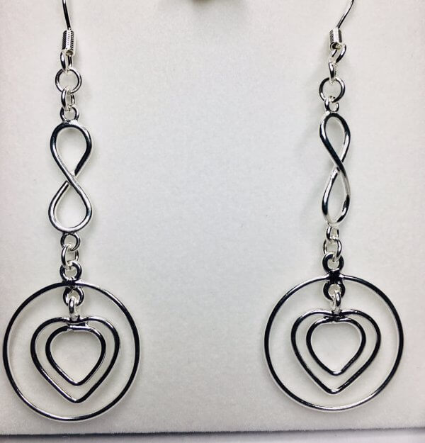 Sterling Silver Hearts in Hoops, with Infinity drop and Sterling Silver Hook Earwires