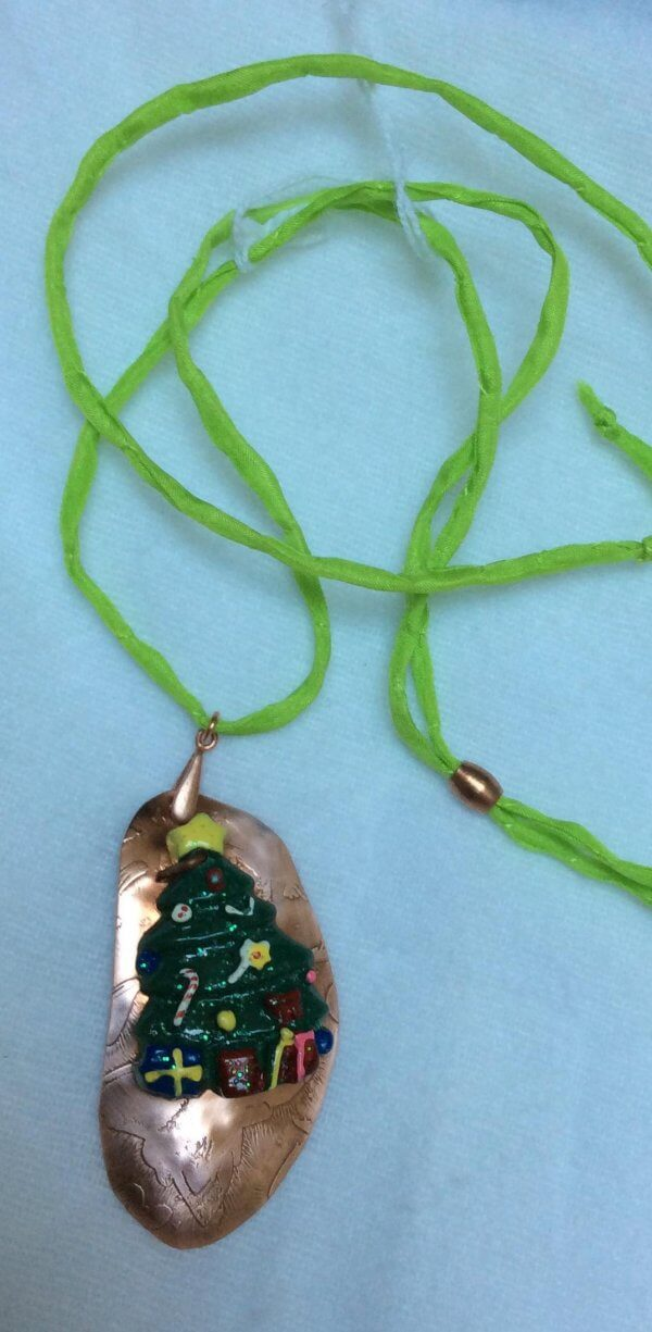 Etched copper with resin christmas tree pendant silk adjustable