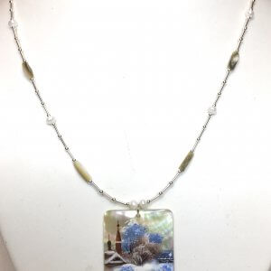 Hand painted Russian winter scene on Shell, Sterling Silver, Shell Necklace