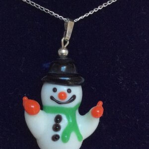 "Lampwork snowman pendant sterling silver 18"" sterling silver chain"