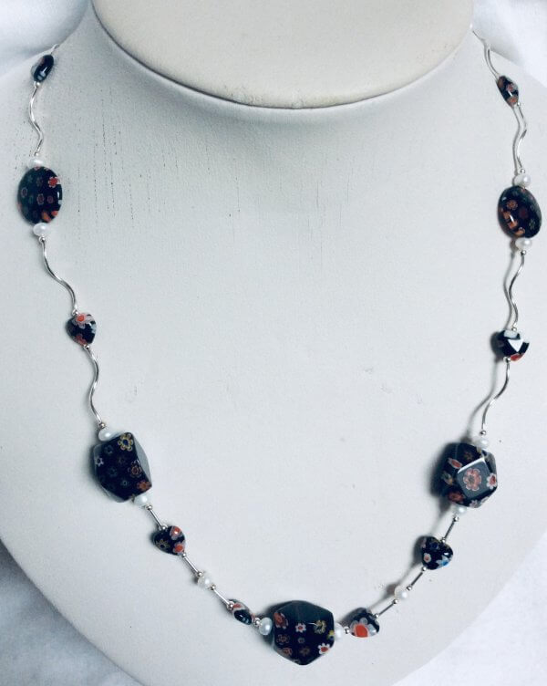 Millefiori beads with freshwater pearl, sterling silver