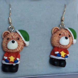 Resin bear christmas earrings silver ear wires