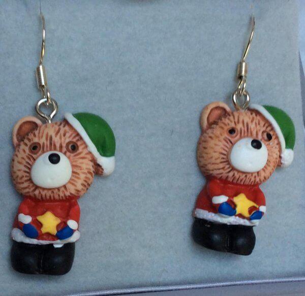 Resin bear christmas earrings silver ear wires
