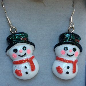 Resin snowmen with sterling silver ear wires