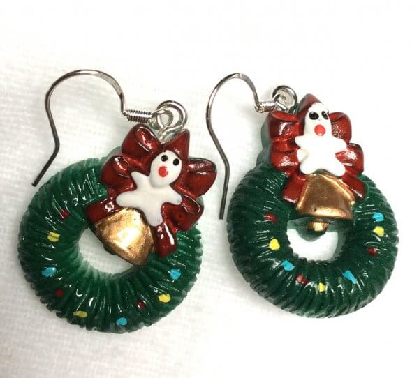 resin christmas wreaths with bell and snowman earrings, sterling silver ear wires