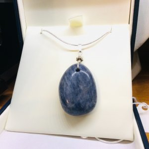 "Kyanite, pendant, sterling silver with 16"" sterling silver snake chain"