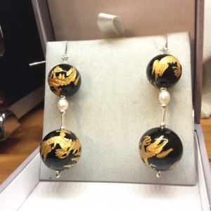 Black onyx with gold, dragon beads,freshwater pearl, sterling silver, earrings