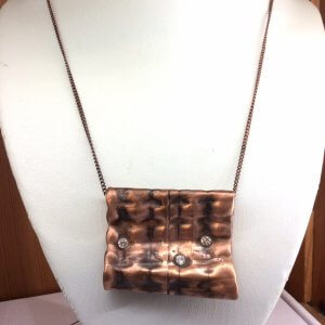 "copper, recycled, hammered, cubic zircon, pendant 18"" copper chain"
