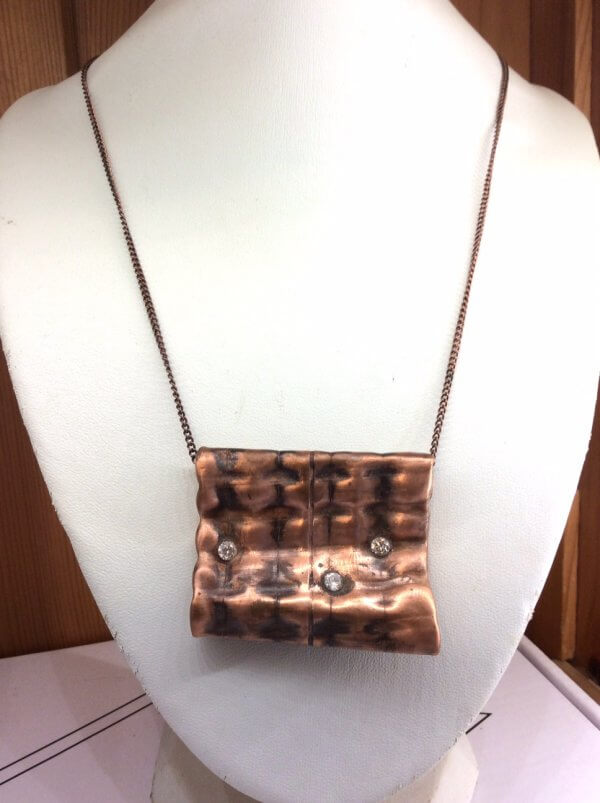 """copper, recycled, hammered, cubic zircon, pendant 18"""" copper chain"""