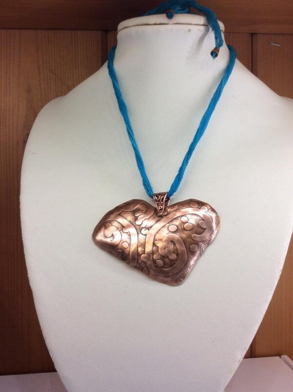 Etched hammered copper, silk and copper adjustable