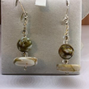 Agate, green and brown marble look, silver lined beads, sterling silver earrings