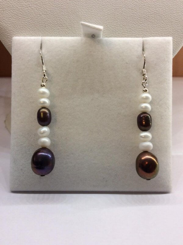 Freshwater pearls, White and dark irridescent, Sterling SIlver earrings
