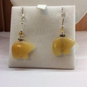 Citine Zuni bear, citrine beads, sterling silver earrings