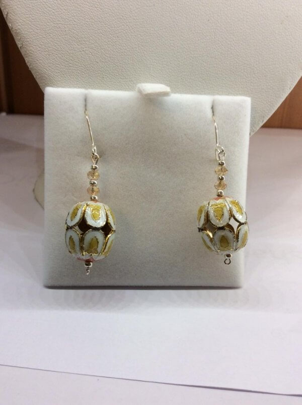 Cloisonee, Chinese Crystal, Sterling Silver Earrings