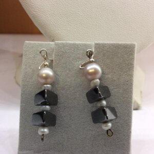 Freshwater Pearl Hematite, Sterling Silver earrings