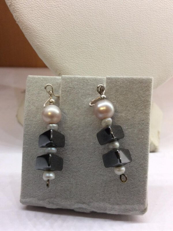 Freshwater Pearl Hematite, Sterling Silver earrings